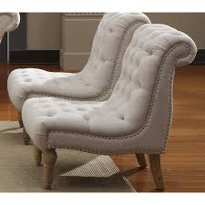 emerald home furnishings hutton nailhead armless accent chair i love the idea of two slipper chairs side by side in lieu of a loveseat