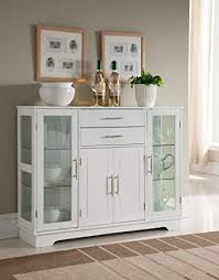 Image Shelves Amazon Kings Brand Furniture Vd60366hw Kitchen Storage Cabinet Buffet With Glass Doors White