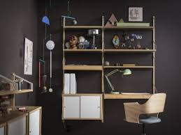 home office shelving units. A Home Office With Wall-mounted Shelving Unit In Bamboo Desk, Combined White Sliding Doors. Shown Together Swivel Chair Oak Veneer Units I