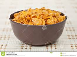 bowl of crunchy nuts corn flakes for breakfast