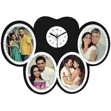 og round photo frame wall clock
