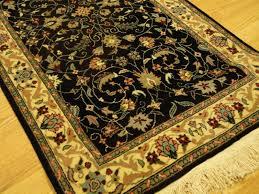 persian tabriz wool handmade black background beige sage