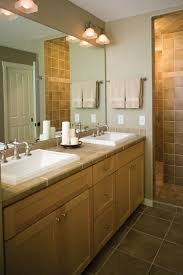 Dazzling Master Bathroom Mirrors and Lighting Using Double Sconce