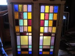 stained glass double hung window unit