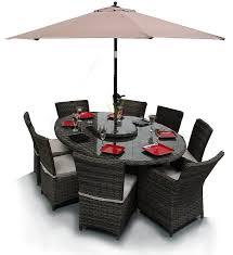 richmond 8 seater oval rattan garden furniture dining set brown mix