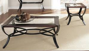 coffee table end table sets three tables of glass and wood and steel table leg