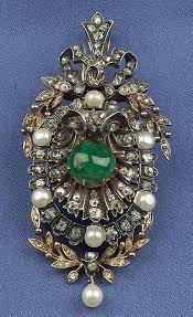 antique emerald and diamond pendant brooch france