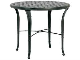 calcutta cast aluminum 36 round cast top bistro table with umbrella hole by brown jordan