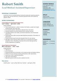 Medical Assistant Objective Statement Lead Medical Assistant Resume Samples Qwikresume
