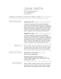 Resume Template For Word Simple Resumes Templates Free Resume Template Microsoft Word Creative
