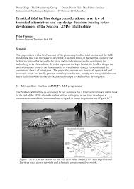 River Turbine Design Pdf Practical Tidal Turbine Design Considerations A Review