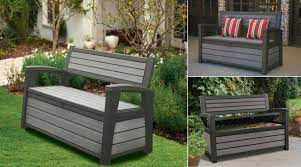 weather resistant garden storage bench