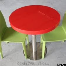 glossy red round restaurant dining table acrylic solid surface table tops