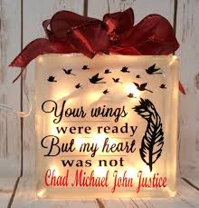 your wings were ready but my heart was not with feather birds etched glass lightbox light box gifts