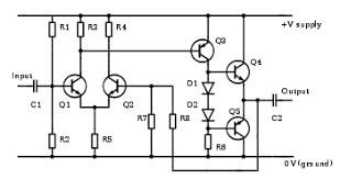 amplifier an electronic circuit diagram including resistors capacitors transistors and diodes a practical amplifier circuit