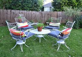 painted metal patio furniture. Cheap 5 Piece White Painted Metal Patio Furniture Set With Cushion  Including Swivel Chair And Round Coffee Table Painted Metal Patio Furniture