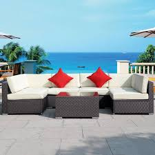 picture of outdoor furniture set pe wicker rattan sofa sectional couch 7 pieces