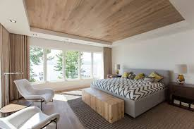 This wooden ceiling in a bedroom from a cabin in Canada.