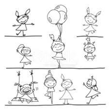 Mano Disegno Bambini Felici Dei Cartoni Animati E Parole Positive