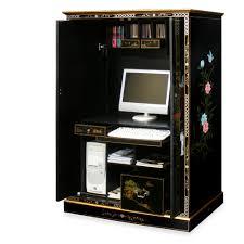Gorgeous Black Solid Wood Computer Desk Cabinet Sliding Keyboard ...