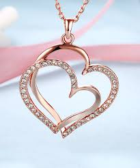 love this 18k rose gold plated double heart pendant necklace with swarovski crystals