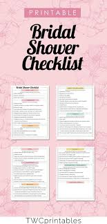 Printable Bridal Shower Checklist 4 Pages Categories