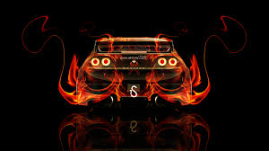 nissan skyline gtr r33 back fire abstract car