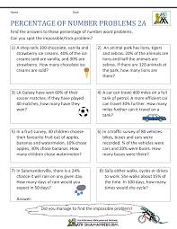 Percentage Word Problemspercentage worksheet percentage of number problems 2a