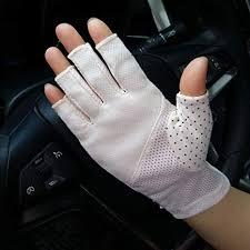 YJZQ Women Ladies Anti-skid Half Finger Gloves <b>Elegant Lace</b> ...