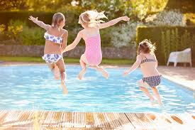Image result for children teaching adults to play in the swimming pool pictures