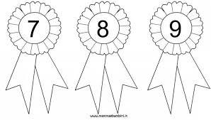 Coccarde Da Colorare Con Numeri 7 8 9 Mamma E Bambini