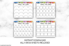 This is how it should look from the top. Preschool Trace Line Activity Homeschool Preschool Line Drawing Sheet Instant Download Parent Resource Teacher Resource Learn To Write By Glamtasticinvites Catch My Party