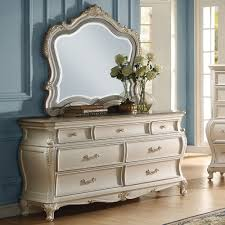 Bedroom Furniture With Granite Tops Acme 23545 Chantelle Pearl White Granite Top 7 Drawer Dresser Mirror