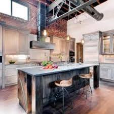 Neutral Reclaimed Wood Softens Rustic Industrial Loft Kitchen