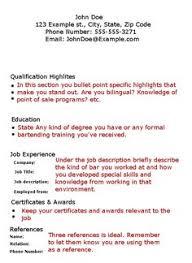 Bartender Resume No Experience Template - http://www.resumecareer.info/