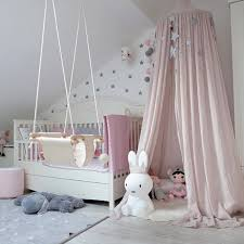 Princess Bed Canopy Mosquito Net for Kids Baby Crib, Round Dome Kids Indoor Outdoor Castle Play Tent Hanging House Decoration Reading nook Cotton ...