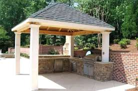 covered outdoor kitchen with roof fireplace ideas structures plans architects setlist cover