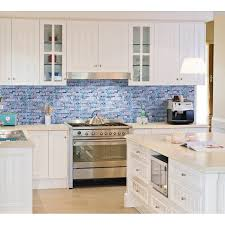 blue glass mosaic clear crystal gray marble backsplash random wave pattern kitchen wall tiles