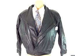 details about wilsons leather mens black front zip leather jacket size m