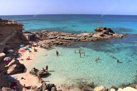 main view of es calo d es mort beach one of the most beautiful spots in formentera balearic islands spain