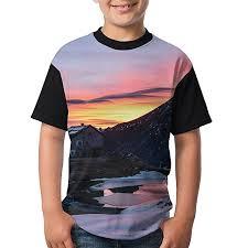 Amazon Com Kids Raglan T Shirts Sunset Sky Nature Snow