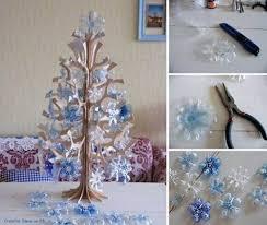 creative ideas diy snowflake tree ornaments from plastic bottles