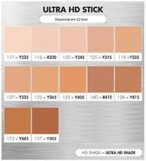 base makeupforever ultra hd stick tabela de conversão de cores tons disponíveis