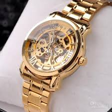 hot gold automatic skeleton mechanical watch mens fashion luxury 50pcs lot hot gold watch mens skeleton mechanical fashion luxury watch stainless by foksy