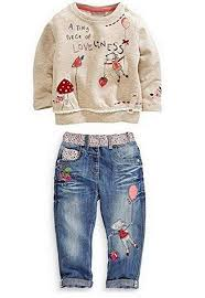 Pants Shirt Kids Baby Girl Children Floral Long T Shirt Top Jean Pants Set Outfit