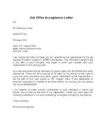 Employment Acceptance Letter Employment Acceptance Letter Template How Offer Job Word Uk