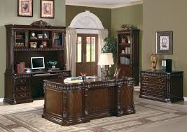 the villa park traditional carved wood desk home office furniture set in dark walnut finish