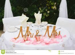 Bride Groom Table Decoration Bride And Groom Wedding Reception Table Decor Stock Photo Image