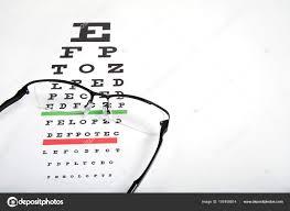 Eye Glasses Eyesight Test Chart Background Close Stock