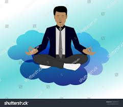 meditation businessman office. Meditation Businessman Office. Doing For Peace. Young Man Yoga In Clouds Relaxing Office N